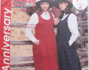 McCall's 7790 Stitch 'n Save Sewing Pattern - Prairie Style Button Front Jumper and Petticoat - Size 10-12-14-16, Bust 32 1/2 - 38 - Uncut