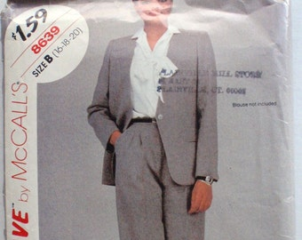 Stitch 'N Save Sewing Pattern - Woman's Pantsuit - Lined Jacket, Pleated Pants - McCalls 8639 - Sizes 16-18-20, Bust 38 - 42, Uncut