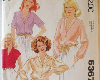 McCall's 6367 - Set of Button Front Blouses - 1970's Sewing Pattern - Size 20, Bust 42, Uncut