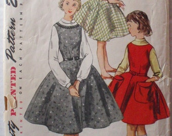 SALE - Girls Vintage 1950s Sewing Pattern - Simple to Make One Piece Jumper - Simplicity 1290 - Size 10, Bust 28