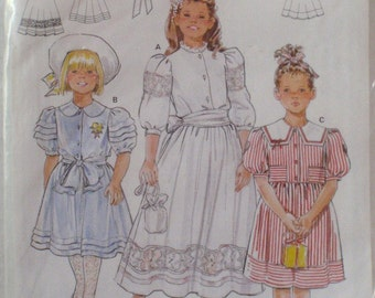 Girls Dress With Sleeve and Collar Options Sewing Pattern - Burda 5166 - Sizes 4 - 12, Uncut
