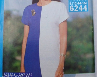 SALE - Misses/Misses Petite Easy See and Sew Pattern - Color Blocked Dress - Butterick 6244 -  Sizes 12-14-16, Bust 34 - 38, Uncut