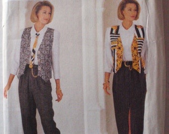 SALE - Womens Sewing Pattern - Lined Vest, Tie, Shirt, Skirt and Pants - Butterick 6682 - Sizes 12-14-16, Bust 34 - 38, Uncut