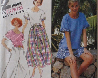 Simplicity 7870 - Wide Leg Cropped Pants or Shorts, Skirt and Pullover Top - Sizes 12-14-16, Bust 34-36-38, Uncut