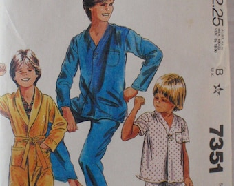 Teen Boys Sewing Pattern - Robe, Pajamas and Sleep Shorts - McCalls 7351 - Size 16, Chest 33 1/2