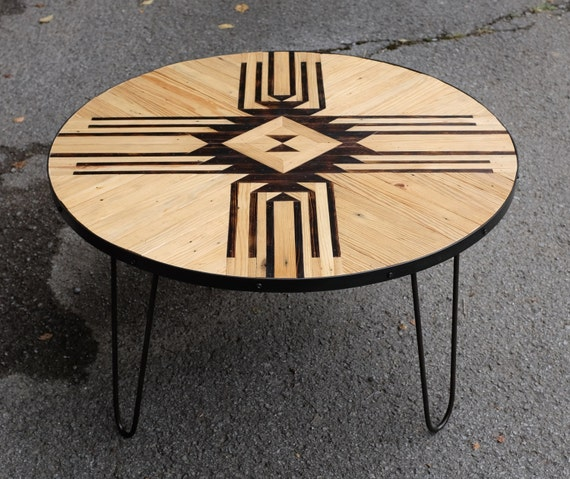 Fabulous Reclaimed Round Coffee Table W Hairpin Legs Lamtechconsult Wood Chair Design Ideas Lamtechconsultcom