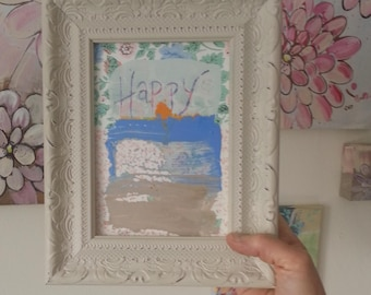 Happy - small original painting, 5 x 7 on Vintage Wallpaper