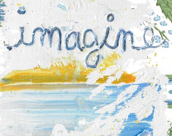 Imagine - small original painting, 5 x 7 on Vintage Wallpaper