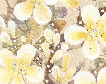 Solana - original painting of Yellow Blossoms painted on original antique 1927s wallpaper