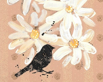 For The Birds - original painting, Black Bird, White and Yellow Daisy Flowers painted on Vintage Wallpaper, by Cat Seyler