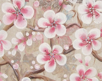 Brocade - original painting of Pink Blossoms painted on original antique 1927s wallpaper