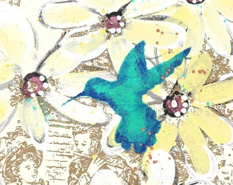 For The Birds - original painting, Blue Hummingbird and Daisy Flowers painted on Vintage Wallpaper