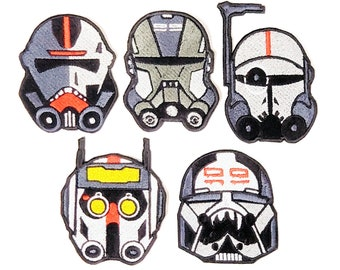 Bad Batch/Clone Force 99 Set (Set of 5) Hunter, Crosshairs, Echo, Wrecker & Tech Inspired by Star Wars Embroidered Iron-On Patches