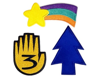 Gravity Falls Set of 3 (Hand #3, Dipper & Mabel Pines) Iron-On Embroidered Patches