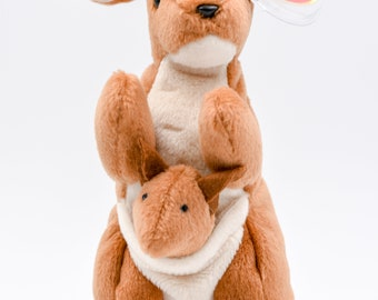 b22a3225bf7 TY Beanie Baby Pouch the Kangaroo + 1996 + Nurnberg Tag + Tag Errors + PE  Pellets + Rare