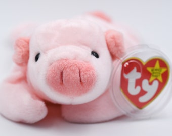 3313ec878a2 TY Beanie Baby Squealer the Pig + 1993 + PVC Pellets + Tag Errors +  Origiinal Suface Error + Ultra Rare