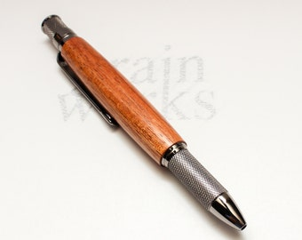 Wooden Ballpoint Pen - Knurl GT Style - Tasmanian Blackwood with Gun Metal Accents (Gift Ready)