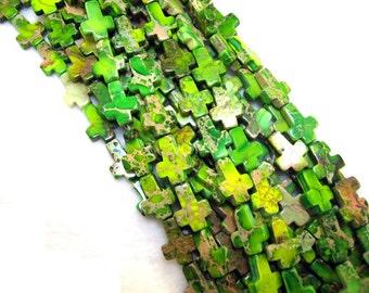Gorgeous Yellow Green Variscite Sea Sediment Jasper Cross Beads 12x16mm