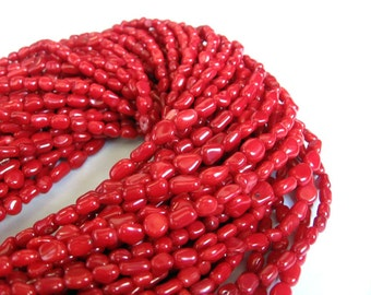 Red Sea Bamboo Coral Rice Beads - 16 Inch Strand