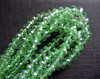 Green Crystal Glass Faceted Rondelle Beads 6x8mm