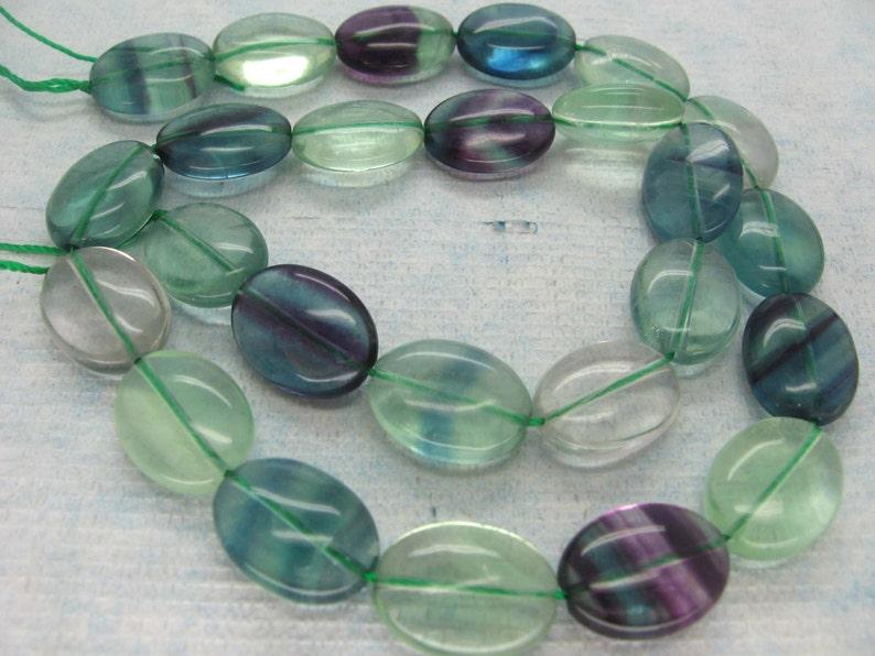 Genuine Rainbow  Fluorite Smooth Puffed Oval Beads 16x12mm