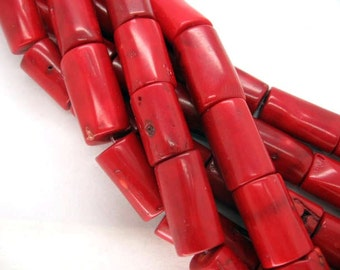 Jumbo Red Sea Bamboo Coral Freefrom Drum Beads