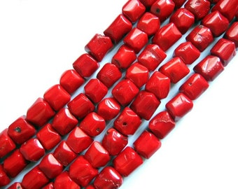 Red Sea Bamboo Coral Barrel Semifaceted Nugget Beads 12 x 11mm