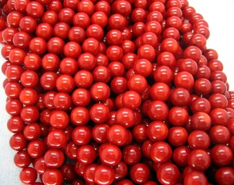 Red Sea Bamboo Coral Round Smooth Beads 8mm - 16 Inch Strand