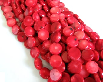 Red Sea Bamboo Coral Coin Disc Beads - 16 Inch Strand