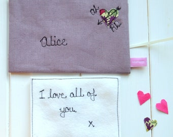 Lilac Linen Love Note - Linen Anniversary Gift For Wife - 4th Wedding Anniversary - Alternative Valentine's Card - Personalized Love Note