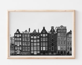 Black and White Amsterdam Photography Print, Amsterdam Architecture Print, Netherlands Europe Travel Poster, Travel Photography Print