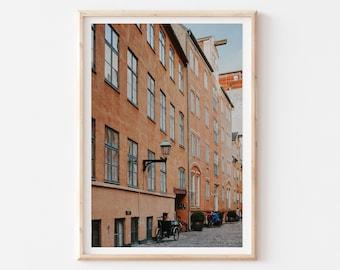 Street Travel Copenhagen City Print, Architecture Cityscape Wall Art, Denmark Wall Art, Copenhagen Print, Travel Decor, Photography Print