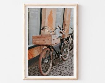 Copenhagen City Print, Street Cityscape Wall Art, Bike Photography Print, City View Art, Vintage Bike Photo Poster, Travel Living Room Decor