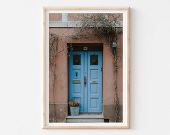 Blue Door Travel Print, Scandi European Art, Malmo Photography Print, Turquoise Blue Wall Art, Sweden Architecture Photography, Travel Lover