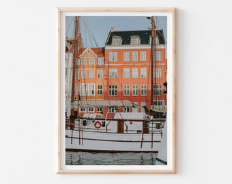 Colorful Copenhagen City Print, Nyhavn Cityscape Wall Art, Denmark Wall Art, Nyhavn Harbor Travel Print, Modern Scandinavian Wall Decor