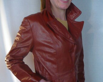 Leather jacket cordovan dark red jacket 1970's coat 3 buttons large lapel 2 pockets cool fall or winter blazer fun collar foxy brown size S