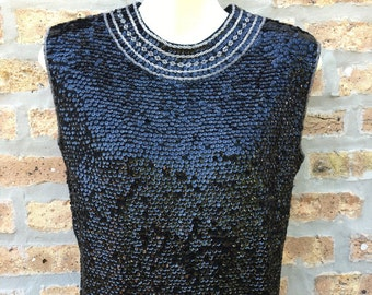 Black sequined top by Carina of Hong Kong new with tags new old stock beaded collar accent special occasion shirt shell 100% wool size M