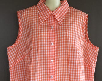 87466aaa8ed Gingham sleeveless plus size Sears Perma Prest button down collar orange  and white size XL rockabilly 1960s summer picnic style cool plaid