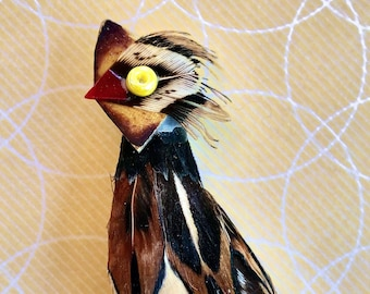 Pheasant Brooch Real Feather Bird Scatter Lapel Accent Pin 1950's Great Gift For Bird Lovers Sweet Present, Brown Feathers, Fall Fashion