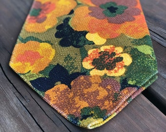 """Men's 7"""" Necktie Ridiculously Oversized Flowered Pattern 1970's Bold Upholstery Look, Present Gift for Him, Browns Orange Greens Yellow"""