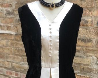 Saks Fifth Avenue Tuxedo Look Split Front Dress 1960's Sleeveless Black Velvet and White Satin Black Tie, Wedding, Event, Unique Statement