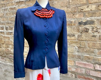 1940's Jacket In Navy Blue, Scalloped New Look Style, Covered Button Blazer, Fitted Flattering Size S, Lining Repair Needed Statement Piece