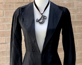 Edwardian Jacket 1910's Handmade Beautiful Ink Black Gorgeous Very Wearable Piece Fitted and Flattering Secure Seams And Structure Wonderful