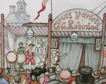 Anton Pieck The C. Robinson Circus Variete print perfect for framing 1970's whimsical monkey show Donald Art printed in Holland performance