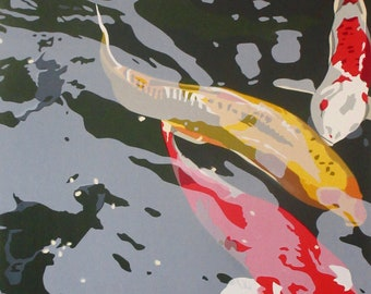 In Thailand: Koi Pond, limited edition serigraph