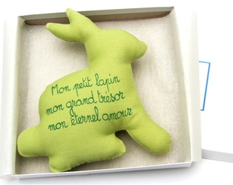 French poem etsy easter gift baby boy gift baby girl gift baby rattle bunny with french negle Choice Image