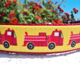 """Sale Dog Collar Fire Truck 1"""" wide Side Release buckle adjustable - no martingale limited, incl dogs neck measurement"""