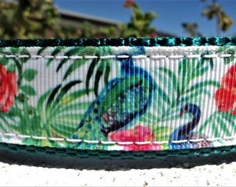 """Dog Collar 1"""" Quick Release buckle or Martingale collar adjustable Pheasant in Foliage - incl dogs neck measurement/s"""