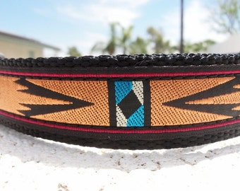 "Dog Collar Southwest, 3/4"" or 1"" Quick  Release buckle adjustable - upgrade to  martingale - info in details"