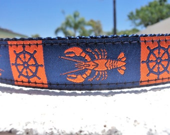 """Sale Dog Collar Nautical Lobsters 1"""" wide Side Release buckle or Martingale collar style, incl dogs neck measurement/s"""